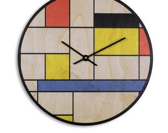 Modern Art Wall Clock - Grid Art Print - Birch