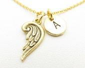 Wing Necklace with Initial, Gold Angel Wing Charm, Personalized Stamped Initial, Antique Gold Monogram Necklace Z004