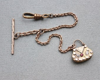 Antique Victorian Watch Chain and Jeweled Purse Fob / Tri Color Gold Figural Purse Charm