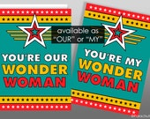 Wonder Woman, Mother's Day Card, Coworker Card, Funny Birthday Card, Boss's Day Card, Card for Her, Friend Card, card from all, thank you