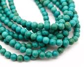 Howlite Gemstone Beads,  8mm, 1 Strand,  Turquoise Beads, Round Gemstone  Beads -B595