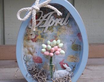 Wood Easter Egg Shadow Box, Easter Decor, Spring Decor