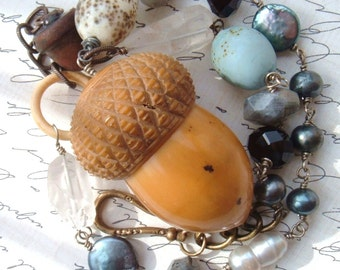 Sale - Victorian Acorn Thimble Case-Woodland-Assemblage Necklace