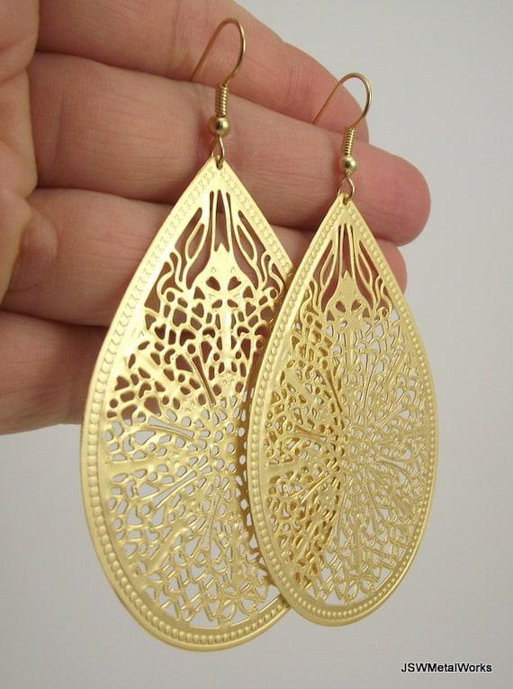 Medium Gold Filigree Teardrop Earrings, Matte Gold Earrings