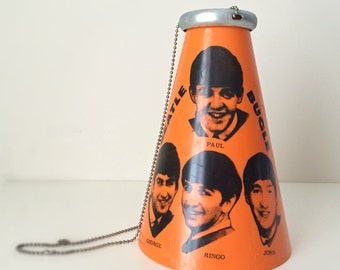 Ultra Rare Beatles 1965 Concert Megaphone - The Yell-O-Phone Beatle Bugle, Orange with Original Metal Mouthpiece and Neck Chain