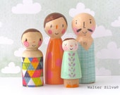 Doodle Peg Dolls by Walter Silva - Modern trendy Toy - Handmade toys