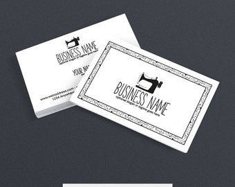 SALE 30% OFF Business Card Designs - Sewing Themed Business Card - Sewing Business Cards - Sewing 101 Black & White