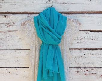 Cotton Scarf with Fringe, Summer Scarf, Long Scarf, Women's Fashion Scarf, Summer Fashion Accessories, Gift Idea for Her, Blue Green Scarf