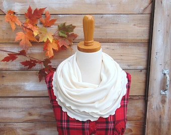 Cream Scarf, Cream Infinity Scarf, Ivory Scarf, Jersey Knit Scarf, Fashion Accessories, Circle Scarf, Gift Idea, Gift for Mom