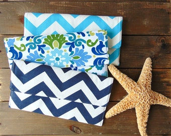 Clutch Set of 3, Bridesmaid Clutch Set, Chevron Clutch, Nautical Beach Wedding, Floral Clutch, Clutch Purse, Clutch Bag, Summer Wedding