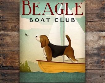 BEAGLE Sail Boat CUSTOM PERSONALIZED Sailing Club Canoe Ride Ready-to-Hang Stretched Canvas or Poster Print