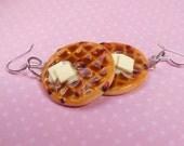 Polymer Clay Blueberry Round Breakfast Toaster Waffle Earrings, Hook Earrings, Food Earrings, Miniature Food
