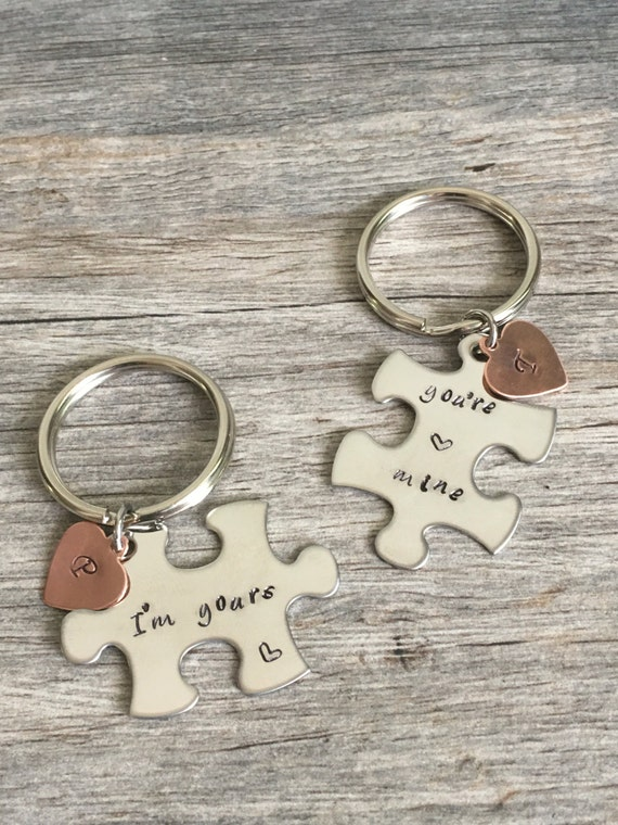I M Yours You Re Mine Couples Puzzle Key Chains Gift