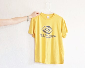 Boys and Girls Clubs of the Sandhills . retro yellow tee .mens medium .sale s a l e