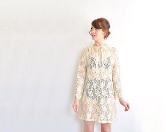 mod lace mini dress . scalloped bell sleeve . reversible 2 in 1 frock .medium .sale