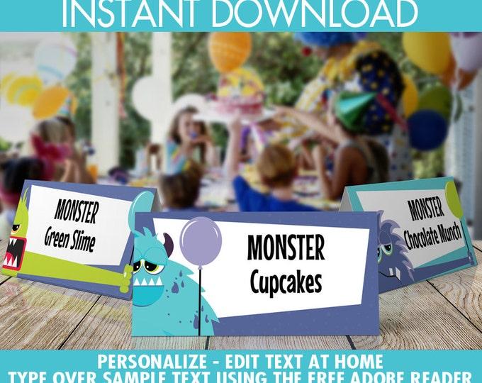 Monster Party Food Labels - Monster Birthday, Monster Mash, Monsters Inc, Halloween, Table Tents | Instant Download PDF Printable Kit