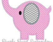 Elephant Machine Embroidery Applique Design