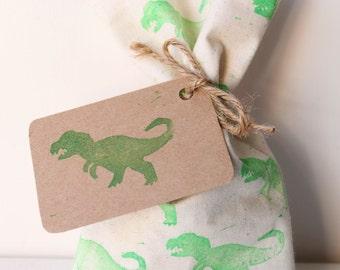 DINOSAUR Party Favour Bags - green DINOSAUR (dinosaur tag OPTIONAL extra) x 10