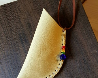Yellow leather pouch - amulet bag - Native American medicine bag - upcycled handmade leather pouch made from industrial scrap - necklace
