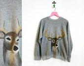 Vintage 1970s Gray Crewneck Sweatshirt with Hand Painted Deer Size M-L