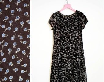 Vintage 1990s Grunge Small Short Sleeved Brown Floral Maxi Dress Size M