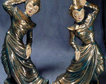 MId Century Bali Dancer Figurines Set Gilner Pottery Balinese