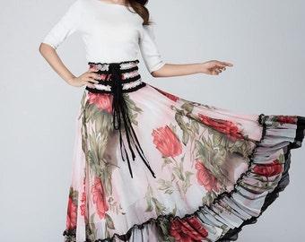 Maxi  skirt, floral skirt, elastic waist skirt,chiffon maxi skirt,bohemian skirt, Boho skirt,bridesmaid skirt,womens skirts, gift ideas 1568
