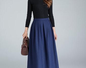 blue wool skirt, maxi skirt, pleated skirt, ladies skirts, winter skirt, full skirt, womens long skirts, fitted skirt, custom made  1629