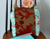 SALE - Orange green tapestry handbag / tote bag with jute handles