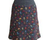 Grey Wool Skirt, Warm Wool Skirt with Dots in Size L
