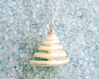 Beach Christmas Ornament - Spiral Cut Troca Shell with Swarovski Crystals and Rhinestone Ball