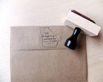 Georgia Address Stamp – Custom Wooden Handle Return Address Stamp - Gift - Return Address Stamp - Wedding address stamp - Housewarming Gift