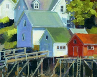 Cozy Harbor - Boothbay Harbor, Maine - Original Oil Painting - 8 x 10 unframed