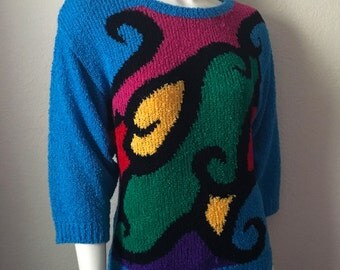 Vintage Women's 80's Beldoch Popper, Sweater, Turquoise, Colorful, Geometric (M)