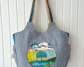 Moonflower Tote in Anna Maria Horner Fibs and Fables with Blue Essex Linen and Natural Cork with matching Morning Glory pouch