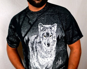 Vintage 1990s Wolf All Over Print Fores Night Howl Tee shirt Tshirt