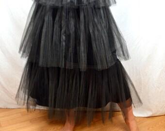 Vintage Black Tulle 1950s 50s Tiered Full Skirt