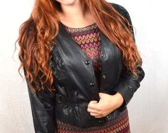 Vintage Black Leather 80s Chia Cropped Coat Jacket
