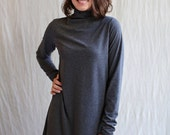 Sylvie Dress, Turtle Neck, Cotton Jersey, Swing- made to order