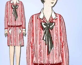 1920s Vintage Butterick Sewing Pattern 1310 Uncut Girls Flapper Dress Size 12