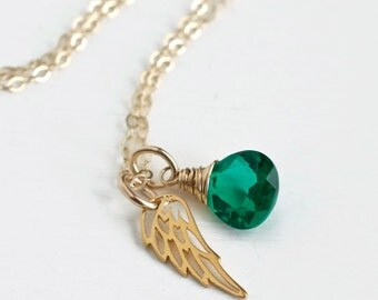 Miscarriage Necklace / May Baby Loss / May Birthstone Necklace / Gold Angel Wing Necklace / Condolence Gift / Remembrance Gift