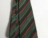 Mid Century green and maroon diagnonal striped tie Hand tailored