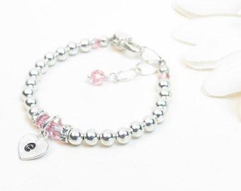 Silver Baby Bracelet // Baby Girl Bracelet // Baptism Bracelet // Flower Girl Bracelet // Baby Bracelet // Silver Initial Bracelet