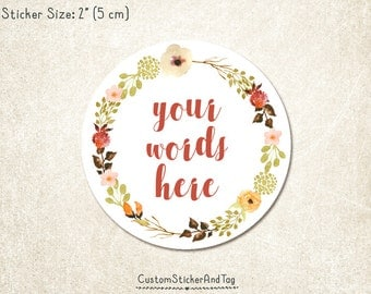 """30 custom stickers with your words, earth tones watercolor flower wreath, 2"""" round, wedding stickers, envelope seals, product labels (S-139)"""