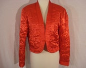 Red Satin Cropped Asian Jacket Vintage Quilted Bolero Jacket NEIL MARTIN M