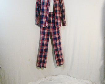 Plaid Pants Plaid Jacket Blouse Rockabilly Punk Country Miss Vintage 60s Mod Outfit SM