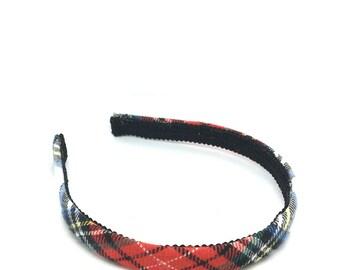 Plaid Headband - Narrow Tartan Plaid Headband Preppy -  White, Red, Black, Blue, Yellow Green - Blair Waldorf - Girls and Women's Headbands