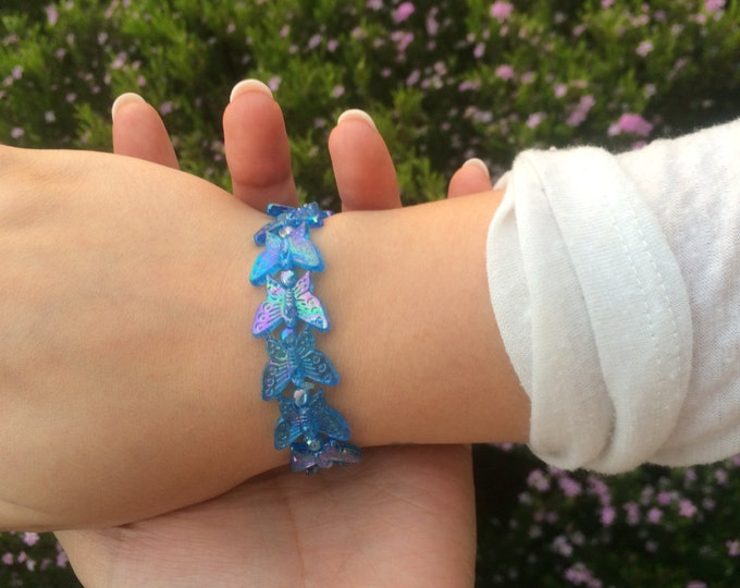 SALE Stretchy Glittery Blue Butterfly Bracelets.