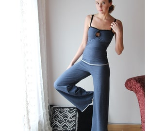 fold over lounge pant with wide leg in cotton french terry - WAFFY loungerie and loungewear range - made to order