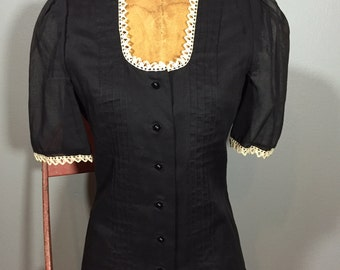 Vintage 70's Edwardian Pintuck Peasant Blouse Victorian S